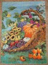 """Basket Of Sunflowers Mums Pumpkin.Autumn Decorative Art Flag 28"""" x 40"""" New"""