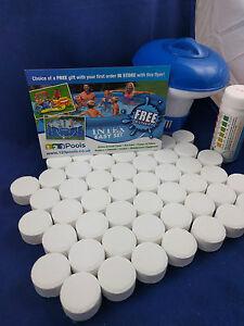 50x20g Chlorine Tablets Pool Hot Tub Spa + Dispenser + Testing strips FULL KIT!!