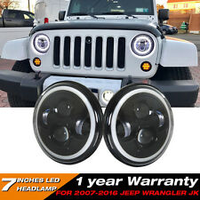 "Firebug Jeep Wrangler 7"" Round LED Headlights, Halo Angle Eyes JK LJ TJ 07-16"