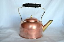 VINTAGE COPPER TEA KETTLE WITH BRASS SPOUT & BRASS AND WOOD HANDLE FARM COUNTRY
