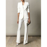 Ivory Slim Fit Female Office Uniform Women Evening Pant Suits Lady Trouser Suit