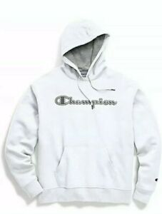 Champion Powerblend Applique White Pullover Hoodie Sweatshirt Adult XXL
