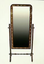 JONATHAN CHARLES FURNITURE SATINWOOD & WALNUT CHEVAL MIRROR PAINTED DECORATION