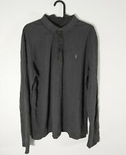 All Saints Brace Long Sleeve Polo Shirt Mens Size Large Grey