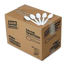 Dixie Plastic Disposable Picnic Teaspoons Spoons Medium Weight White 1000 count