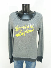 American Eagle pull taille xs/gris avec inscription & ETAT NEUF (K 2555 N)