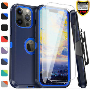 For iPhone 12 13 Pro Max 11 XR Case Cover With Belt Clip+Glass Screen Protector