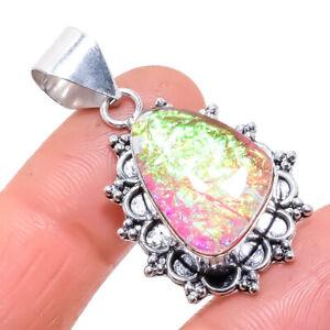 """Triplet Fire Opal Gemstone Handmade Silver Jewelry Pendant 1.6"""" PRJ618"""