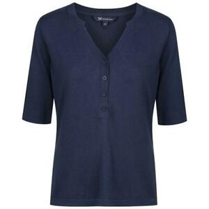Crew Clothing Ladies Knitted Henley Top - Navy - RRP £45
