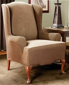 NEW Stretch stripe BROWN  Wing chair slip cover by sure fit slipcover