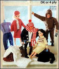 De Colección Tejer patrón Sindy Muñecas Barbie Action Man Ropa Vestido Falda Pantalones