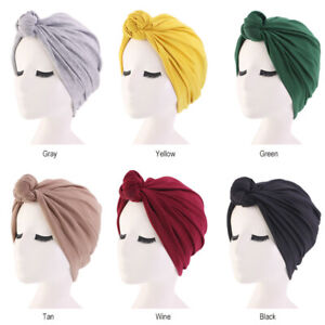 Womens Stretch Muslim Turban Cotton Hat Knotted Headwrap Cancer Chemo Caps Hijab