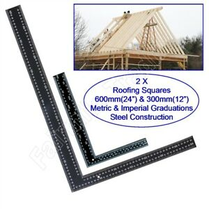 """2 X Quality Steel Roofing Squares 24"""" & 12"""" Roof Carpenter Wood Tri Metric Inch"""