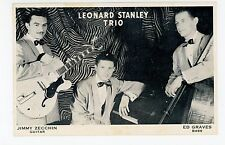 Leonard Stanley Trio—Vintage Jazz Postcard—GUITAR Fender? Epiphone? Detroit
