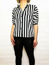 New Womens Black and white strip blouse top shirt. Sizes XS-S, L-XL