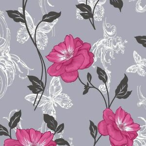 Grey Pink Black Flower Butterfly Wallpaper Millie Floral Paisley Modern Crown