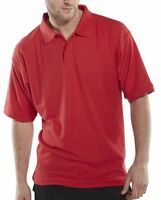 Click Red Polycotton Mens Short Sleeve Pique Polo Shirt Collar Work Club Sport