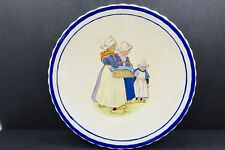 Vintage Plate With Dutch Women & Girl - Scallopped With Blue Border - 9.5 Inch