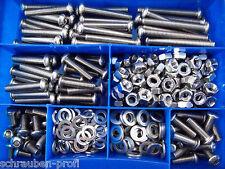 360 piezas acero inoxidable V2A TORNILLOS ISO 7380 Tuercas Caja M4-M8 NIRO