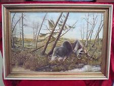 schönes,altes,gr.Gemälde__kämpfende Elche__K.Parwitti_!