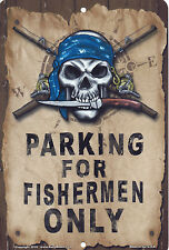 "Salty Bones Metal Parking Sign for Fisherman Only 12""x8"" Fishing Pirate Plaque"