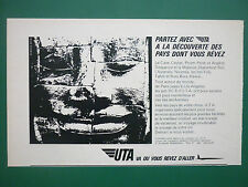 4/1966 PUB UTA AIRLINE DC-8 AIRLINER ANGKOR STATUE TEMPLE ORIGINAL FRENCH AD