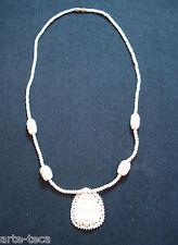 collana perle in osso intarsiato pendolo bigiotteria nepal etnico tribale affare