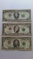 Lot of 3 Three Old US Notes Bills (1988-1995) $35.00 Face Value