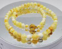 14.25gr Antik Vintage Bernstein Halskette Necklace Butterscotch Weißer Bernstein