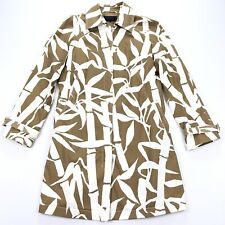 Escada Women's Over Trench Coat Jacket Brown White Bamboo • Large