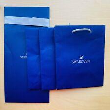 4X Original Swarovski Tall / Small Gift Paper Bags - Silver Cord Handle +Ribbon
