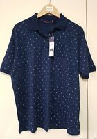 Bonmarche Navy Polo Shirt Size 14-16 Polka Dot Short Sleeve New with tags Ladies