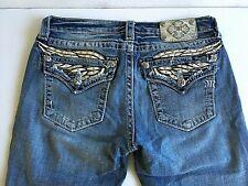 Miss Me Jeans 29 × 31.. Preowned.. Bootcut.. Rhinestone Metal Studs Distressed