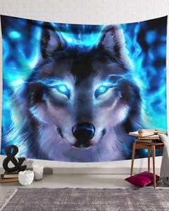 Polyester Wall Tapestry- Bed Spread - Neon Wolf in Many Sizes