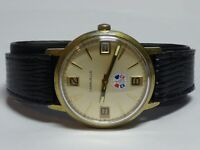 Vintage Caravelle Men's Stainless Steel Manual Wind Easy Read Leather Band Watch