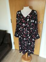 Ladies CAPSULE Dress Size 28 Black Floral Tunic Smart Casual Day Party