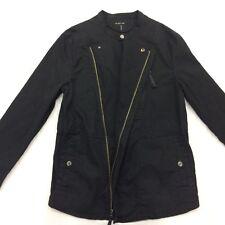 Helmut Lang Mens Large Black Motor Jacket Mandarin Collar Coat Front Zip Snap
