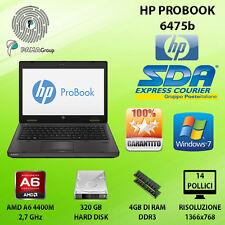 NOTEBOOK RICONDIZIONATO HP PROBOOK 6475B AMD A6-4400M 4GB 320GB WIN 7 PRO