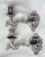 2 x Wandkerzenhalter Silber Wandleuchter,Klavierleuchter Messing schwenkbar18cm