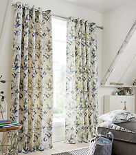 Stella Floral 100% Cotton Contemporary Ring Top Eyelet Curtains In Grey or Blue