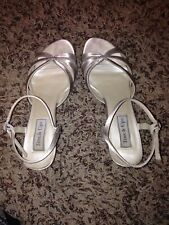 ANKLE STRAP OPEN TOE WHITE SATIN SANDALS LEATHER SOLE