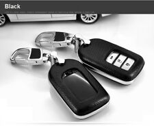 Black Leather Smart Key Cover Remote Keyless Bag Fit For Honda Civic Pilot CR-V