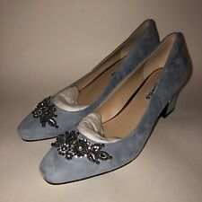 Karl Lagerfeld Classic Pump Block Heel 9 Rounded Toe Slip On Blue Suede Stone