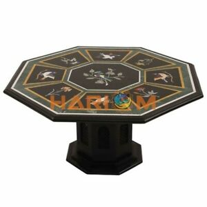"""36"""" Black Marble Dining Table Top With 24"""" Stand Floral Inlay Art Home Deco B311"""
