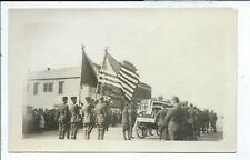 RPPC Postcard Flag Draped Casket MIlitary Parade