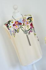 OASIS Beautiful floral & butterfly print cream scallop hem blouse 10