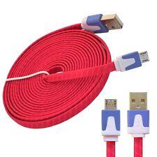 Micro USB Kabel 3Meter lang flaches Textil Datenkabel Ladekabel für Android pink