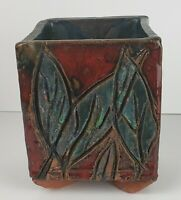 Handmade Clay Pottery Planter/Vase/Container Artist Signed Glazed Colorful
