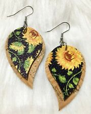 Natural Cork Angel Drop / Black Sunflower  Faux Leather Earrings Double Layer