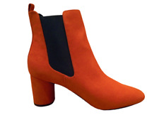 Womens Boots Size 9 Block Heeled Ankle Chelsea Orange Rust Red Ladies New RRP£35